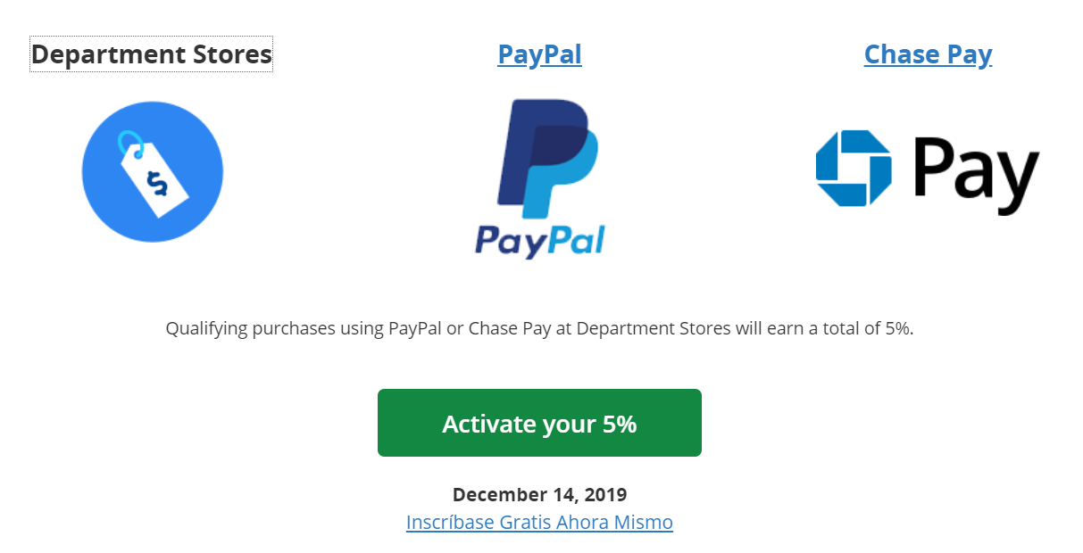 《Paypal消费 - Chase Freedom 2019年第四季度5%消费注册开始!》